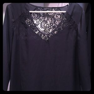 Express Black Silky Top with Lace Panels